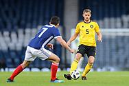 Jan Vertonghen (#5) of Belgium plays a short pass during the International Friendly match between Scotland and Belgium at Hampden Park, Glasgow, United Kingdom on 7 September 2018.