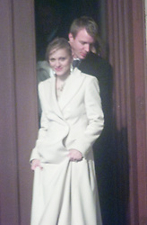 Madonna and Guy Ritchie leave the christening with their baby Rocco at Dornoch Cathedral in Scotland on the night of 12th December 2000.