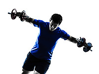 one  man exercising weight training silhouette on white background