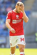 Bristol City's Andreas Weimann (14) in action during the EFL Sky Bet Championship match between Cardiff City and Bristol City at the Cardiff City Stadium, Cardiff, Wales on 28 August 2021.