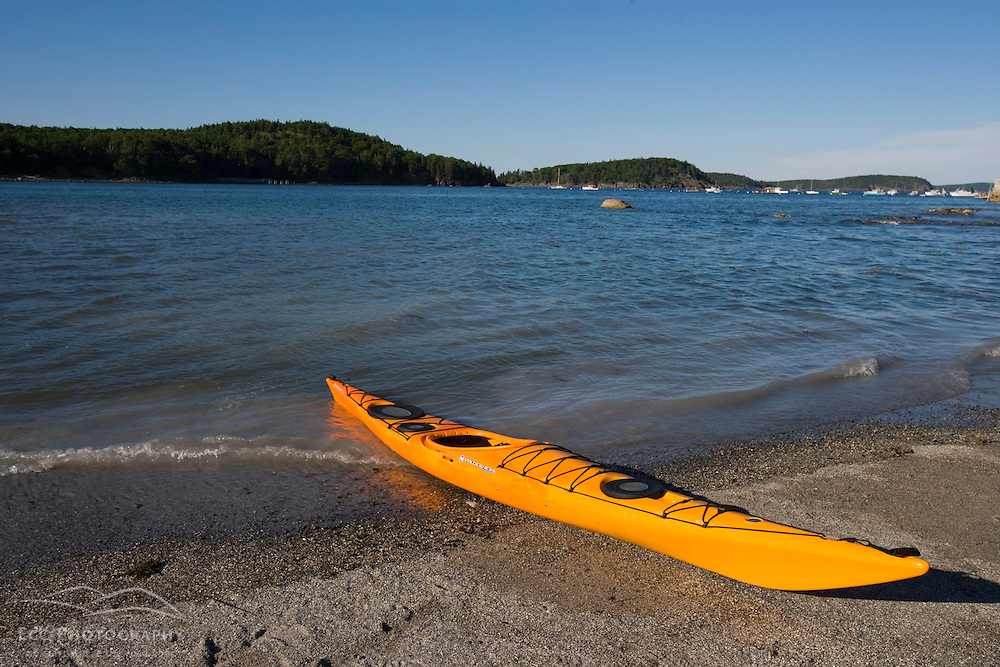A sea kayak on the shore in Bar Harbor Maine USA