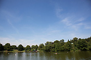 "Men's swimming pond. Hampstead Heath (locally known as ""the Heath"") is a large, ancient London park, covering 320 hectares (790 acres). This grassy public space is one of the highest points in London, running from Hampstead to Highgate. The Heath is rambling and hilly, embracing ponds, recent and ancient woodlands."