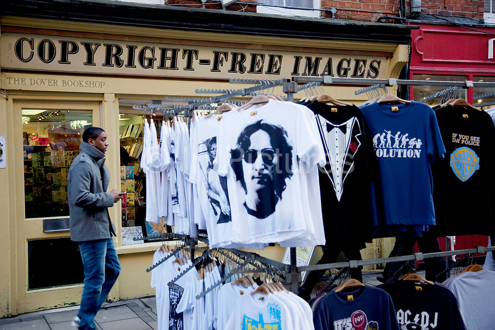 John Lennon t-shirts outside the Copyright ree Images shop in Covent Garden. London.