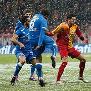Galatasaray's Hakan Balta (R) during their Turkish Super League soccer match Galatasaray between MP Antalyaspor at the TT Arena Stadium at Seyrantepe in Istanbul Turkey on Saturday 01 February 2012. Photo by TURKPIX