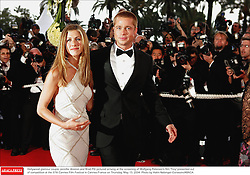 Hollywood glamour couple Jennifer Aniston and Brad Pitt pictured arriving at the screening of Wolfgang Petersen's film 'Troy' presented out of competition at the 57th Cannes Film Festival in Cannes-France on Thursday, May 13, 2004. Photo by Hahn-Nebinger-Gorassini/ABACA.