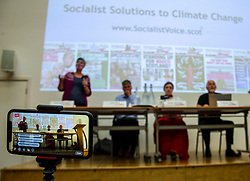 Pictured: <br />Delegates welcomed panalists Eva, Schornveld, Extinction Rebellion; Colin Fox and Róisín McLaran, Scottish Socialist Party and Asbjørn Wahl a climate activist from Norway to assess how tackling climate change can be done in ways which benefit working-class people and their communities.<br /><br />Eva Schonveld Extintion Rebellion<br /><br />Colin Fox is the national co-spokesperson of the Scottish Socialist Party and a former Member of the Scottish Parliament for the Lothians.<br /><br />Róisín McLaren is the national co-spokesperson of the Scottish Socialist Party. At 24, she is the youngest leader of any UK political party in history.<br /><br />Asbjørn Wahl is a Norwegian researcher and author. He is currently the director of the Campaign for the Welfare State, an adviser for the Norwegian Union of Municipal and General Employees, and the Vice President of the Road Transport Workers' Section of the International Transport Workers' Federation.<br /><br /><br />Ger Harley | EEm 29 June 2019
