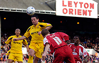 Photo: Alan Crowhurst.<br />Leyton Orient v Cheltenham Town. Coca Cola League 2. 11/03/2006. Joe Keith (R) goes close on the back post for Orient.