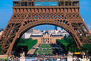 FRANCE, PARIS, CITY CENTER Eiffel Tower, built by Gustave Eiffel in 1889; 300 meters tall; base with the Ecole Militaire beyond