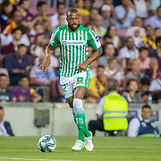 BARCELONA, SPAIN - August 25:  Sidnei #12 of Real Betis in action during the Barcelona V  Real Betis, La Liga regular season match at  Estadio Camp Nou on August 25th 2019 in Barcelona, Spain. (Photo by Tim Clayton/Corbis via Getty Images)