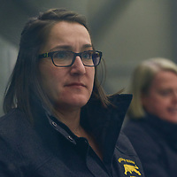 Assistant Coach,  Collen Sostorics during the Women's Hockey Home Game on Fri Oct 19 at The Co-operators Arena. Credit: Arthur Ward/Arthur Images