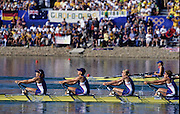 Sydney, AUSTRALIA, GBR W4X after winning the bronze medal,  at the 2000 Olympic Regatta, Penrith Lakes. [Photo Peter Spurrier/Intersport Images]  [right to left] BATTEN, Guin, LINDSAY, Gillian Anne, GRAINGER, Katherine<br /> BATTEN, Miriam. 2000 Olympic Rowing Regatta00085138.tif