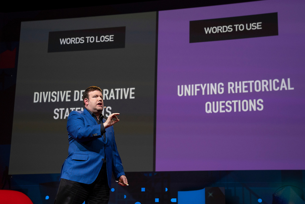 Frank Luntz speaks at TED2019: Bigger Than Us. April 15 - 19, 2019, Vancouver, BC, Canada. Photo: Bret Hartman / TED