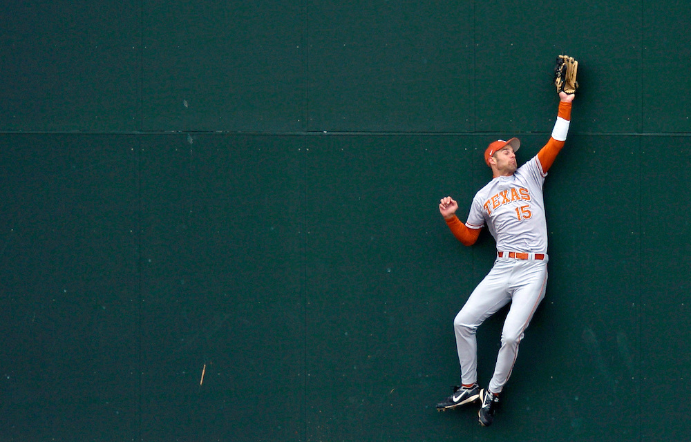 Texas outfielder Jordan Danks catches a hit on the warning track at the bottom of the fourth inning.  Missouri lost to Texas 9-2.