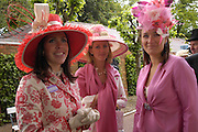 Mrs. William Ramsay ,Georgina Pope and Sophia Harding-Newman. Royal Ascot Race meeting Ascot at York. Tuesday 14 June 2005. ONE TIME USE ONLY - DO NOT ARCHIVE  © Copyright Photograph by Dafydd Jones 66 Stockwell Park Rd. London SW9 0DA Tel 020 7733 0108 www.dafjones.com