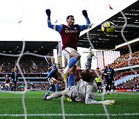 John Carew Scores goal but is disallowed for being offside<br /> Aston Villa 2009/10<br /> Robert Green West Ham United<br /> Aston Villa V West Ham United (0-0) 17/01/10<br /> The Premier League<br /> Photo Robin Parker Fotosports International