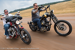 Aaron Greene and Bobby Seeger on Aidan's Ride to raise money for the Aiden Jack Seeger nonprofit foundation to help raise awareness and find a cure for ALD (Adrenoleukodystrophy) during the annual Sturgis Black Hills Motorcycle Rally. Riding the cut-off Fort Meade Way between I-90 and the Buffalo Chip, SD, USA. Tuesday August 8, 2017. Photography ©2017 Michael Lichter.