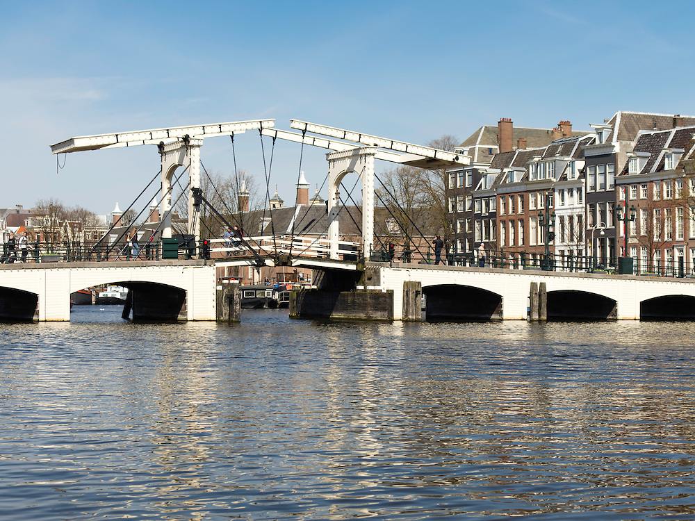 """A view of Amsterdam's famous Magere Brug or """"Skinny Bridge."""""""