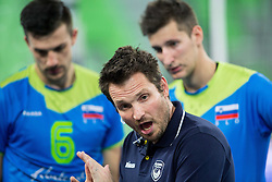 Luka Slabe, head coach of Slovenia during volleyball match between National teams of Slovenia and Latvia in Qualifications for 2015 CEV Volleyball European Championship - Men on May 25, 2014 in Arena Stozice, Ljubljana, Slovenia. Photo by Vid Ponikvar / Sportida