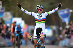 February 9, 2019 - Lille, BELGIUM - Belgian world champion Sanne Cant celebrates as she crosses the finish line to win the women's elite race of the Krawatencross cyclocross in Lille, the eighth and last stage in the DVV Trofee Cyclocross competition, Saturday 09 February 2019. BELGA PHOTO DAVID STOCKMAN (Credit Image: © David Stockman/Belga via ZUMA Press)
