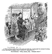 "[""There are many ladies who, in the quiet part of the day, would use the 'bus instead of walking if their dogs might accompany them.""—Letter in ""Daily News.""] 'Bus Conductor. ""Full inside Sir. Outside only!"""