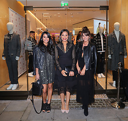 Sair Khan, Tisha Merry and Brooke Vincent arriving for the opening of a French Connection shop in The Royal Exchange Shopping Arcade, Manchester on Wednesday evening