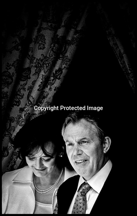 The Prime Minister Tony Blair and his wife Cherie leave All Saints Church,The Drive,Hove,for Sunday service PRESS ASSOCIATION Photo. Photo Credit should read:Andrew Parsons/PA