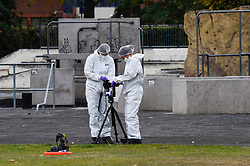 © Licensed to London News Pictures. 22/09/2019. SLOUGH, UK.  A forensics team at work next to a skate park at Salt Hill Park in Slough, Berkshire, where it is reported a 15 year old boy was fatally stabbed after an altercation with another male.  Emergency services attended the scene at 6.30pm on the evening of 21 September where the boy was pronounced dead.  Investigations are ongoing.  Photo credit: Stephen Chung/LNP
