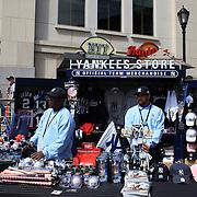 Yankee merchandise for sale outside Yankee Stadium, The Bronx, during the New York Yankees V Detroit Tigers Baseball game at Yankee Stadium, The Bronx, New York. 28th April 2012. Photo Tim Clayton