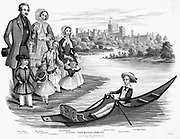 Queen Victoria and Prince Albert with their six eldest children: Louisa the youngest shown here, born 1848. In boat is Prince of Wales (later Edward VII)  Aquatint c1850