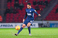Timothée Dieng of Southend United (8) passes the ball forward during the EFL Sky Bet League 1 match between Doncaster Rovers and Southend United at the Keepmoat Stadium, Doncaster, England on 12 February 2019.