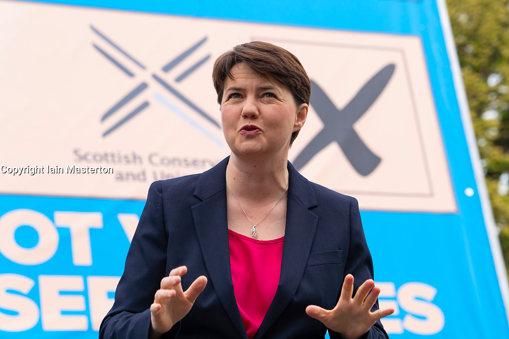 Edinburgh, Scotland, UK. 3  May 2021.  The Scottish Conservative party launch new campaign billboard ad van in Edinburgh today. Scottish Conservatives Leader Douglas Ross and former leader Ruth Davidson launched the ad van with a message urging voters to vote Scottish Conservatives on the list or peach ballot paper. Pic; Ruth Davidson.  Iain Masterton/Alamy Live News