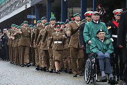 Members of the Armed Forces and veterans march during a Remembrance Sunday service in Fort William town centre, held in tribute for members of the armed forces who have died in major conflicts.