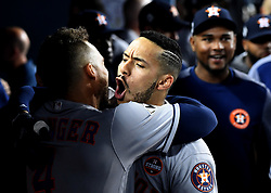 October 25, 2017 - Los Angeles, California, U.S. - Houston Astros' Carlos Correa celebrates after hitting a solo home run against the Los Angeles Dodgers in the tenth inning of game two of a World Series baseball game at Dodger Stadium on Wednesday, Oct. 25, 2017 in Los Angeles. Houston Astros won 7-6 in 11 innings. (Photo by Keith Birmingham, Pasadena Star-News/SCNG) (Credit Image: © San Gabriel Valley Tribune via ZUMA Wire)