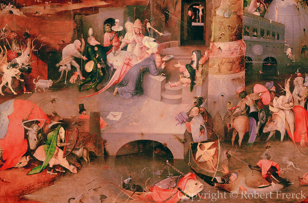 PORTUGAL, LISBON, MUSEUM OF ANTIQUE ART Bosch's masterpiece 'The Temptation of St. Anthony'; a detail