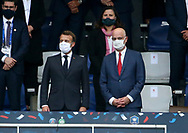 French President Emmanuel Macron, French Minister of Education Jean-Michel Blanquer, behind French Minister of Sports Roxana Maracineanu attend the French Cup final football match between Paris Saint-Germain (PSG) and AS Saint-Etienne (ASSE) on Friday 24, 2020 at the Stade de France in Saint-Denis, near Paris, France - Photo Juan Soliz / ProSportsImages / DPPI