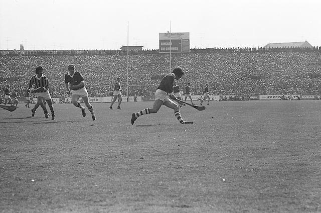 Cork player bounces slitor on his hurl while running during at the All Ireland Senior Hurling Final, Cork v Kilkenny in Croke Park on the 3rd September 1972. Kilkenny 3-24, Cork 5-11.