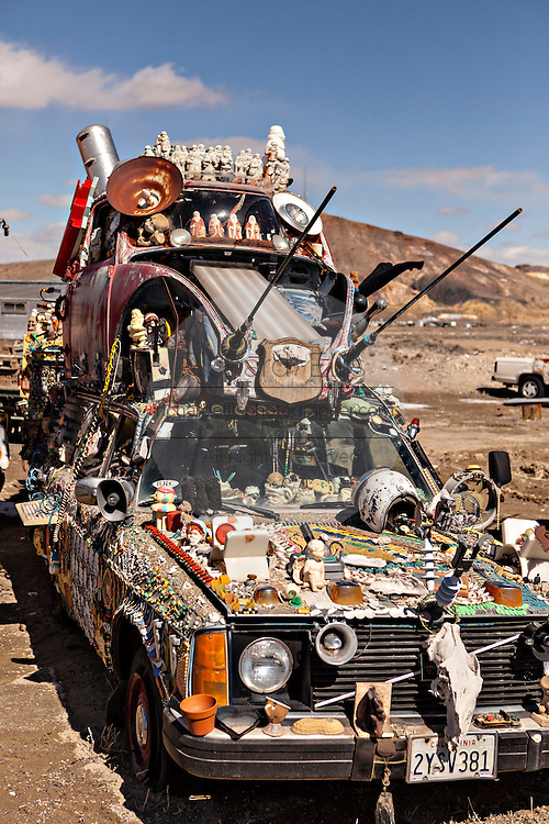 A decorated art car in Goldwell, NV.