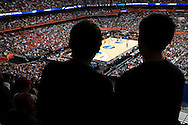 27 MAR 2015: Fans look on as the University of Louisville takes on the North Carolina State University during the 2015 NCAA Men's Basketball Tournament held at the Carrier Dome in Syracuse, NY. Louisville defeated North Carolina State 75-65. Brett Wilhelm/NCAA Photos