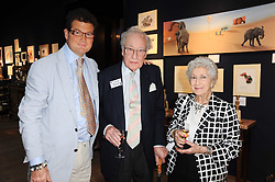 Left to right, SIR TIM ACKROYD, actor FRANK THORNTON and his wife BERYL at an auction and priavte view of paintings, drawings, stories and doodles by well known personalities held at Christie's, St.James's, London on 20th September 2010.