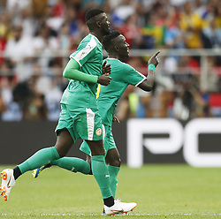 MOSCOW, June 19, 2018  Players of Senegal celebrate scoring during a Group H match between Poland and Senegal at the 2018 FIFA World Cup in Moscow, Russia, June 19, 2018. (Credit Image: © Cao Can/Xinhua via ZUMA Wire)