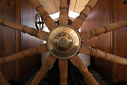 Ship's wheel on the RSS Discovery ship berthed at Discovery Point  in Dundee ,Tayside, Scotland,
