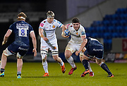 Exeter Chiefs flanker Dave Ewers spots at gap during a Gallagher Premiership Round 11 Rugby Union match, Friday, Feb 26, 2021, in Eccles, United Kingdom. (Steve Flynn/Image of Sport)