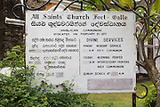 Sign n notice outside All Saints Anglican Church historic town of Galle, Sri Lanka, Asia