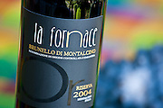 La Fornace Brunello di Montalcino 2004 Riserva bottle of red wine at wine estate of La Fornace in Val D'Orcia, Tuscany, Italy