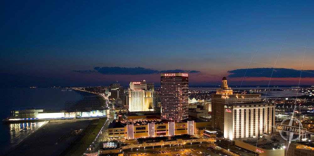 Atlantic City, NJ Skyline and Steele Pier at night.