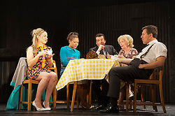 "© Licensed to London News Pictures. 23/10/2012. London, England. L-R: Claire-Louise Cordwell (Maura), Allyson Ava-Brown (Marge), James Clyde (Michael), Veronica Quilligan (Sarah) and Dale Rapley (Geoffrey). A new stage adaptation to celebrate the 20th anniversary of Martina Cole's first bestselling novel ""Dangerous Lady"" opens at the Theatre Royal Stratford East. Directed by Lisa Goldman it will run to November 17th. The title role is played by Claire-Louse Cordwell (as Maura). Photo credit: Bettina Strenske/LNP"