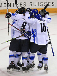 Finland celebrates at ice-hockey match Finland vs USA at Qualifying round Group F of IIHF WC 2008 in Halifax, on May 11, 2008 in Metro Center, Halifax, Nova Scotia, Canada. (Photo by Vid Ponikvar / Sportal Images)
