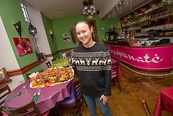 Manager Jessica Henderson with the mushakal kebab platter. Tam Cowan at Pomegranate, 1 Antigua Street, Edinburgh.