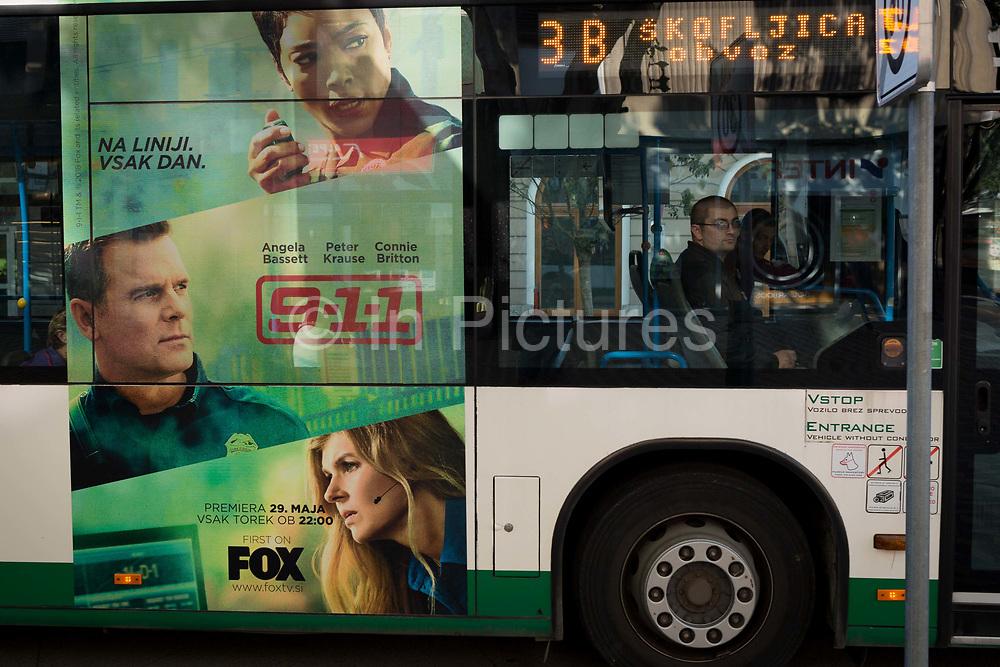 Bus advertising on a city bus on Slovenska Cesta street in the Slovenian capital, Ljubljana, on 25th June 2018, in Ljubljana, Slovenia. Ljubljana city buses are operated by the Ljubljanski potniški promet LPP public utility company.