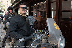 Chris Shelby on the main street of Tatopani before starting out on Day-7 of our Himalayan Heroes adventure riding from Tatopani to Pokhara, Nepal. Monday, November 12, 2018. Photography ©2018 Michael Lichter.